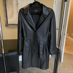 Vintage Long Leather Jacket   Collar with 4 button